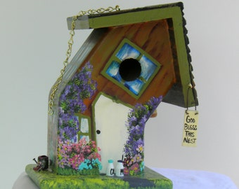 Bent Green and Brown Birdhouse , Handmade , Hand Painted , Unique