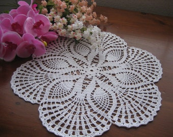 Hand crochet, white, pineapple doily,  made by Demet