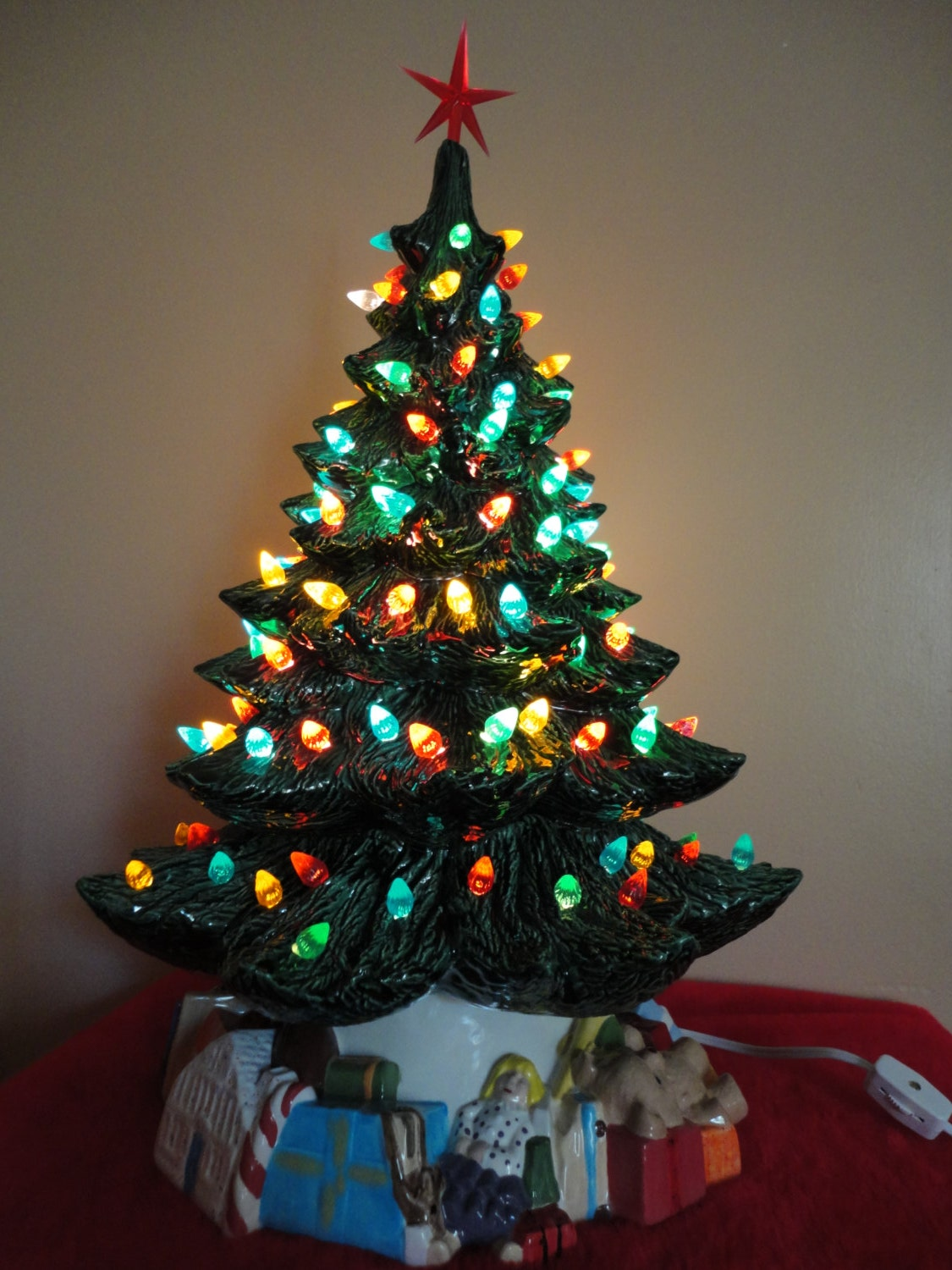 Ceramic Christmas Tree 19 Inches Tall With Toy Base And