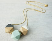 Long Wooden Polygons Necklace, pastel geometric necklace, Scandinavian design