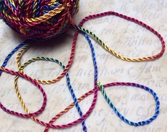 3 metres Hand Dyed 2 ply Twisted Rayon Cord -Rainbow dyed by Raesrags