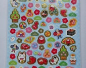 Japanese Washi Paper Stickers / Seals Sheet Large - Traditional Accessories, Fan, Plum Flower, Cat, Bamboo, Purse, Ball, Fish, Bell, Bento