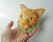 Needle Felted Cat Head, Butters