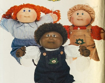 Cabbage Patch Kids Clothing Sewing Pattern, Butterick 6508, 2 Shirts, Overalls, Jumper, Pants. 16 inch Cabbage Patch Kid