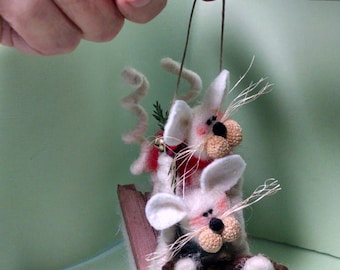 NEW!  Mice on Sled Felted Wool Ornament - 4""