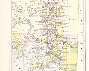 1887 Map South Australia - Vintage Antique Map Great for Framing 100 Years Old
