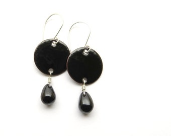 Black Enamel Earrings - Black Earrings - Black Drop Earrings - Enamel on Copper - Sterling Silver - Goth Earrings - Gothic Jewelry