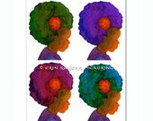 4 Afro Silhouettes 8x10 art print