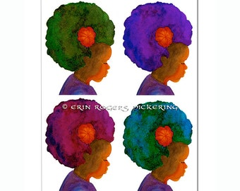 4 Afro Silhouettes 5x7 or 8x10 art print