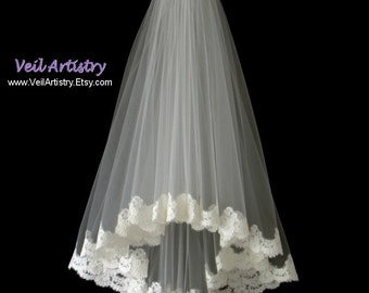 Bridal Veil, Radiance Veil, 2 Tier Veil, Lace Edge Veil, Alencon Lace Veil, Lace Veil, Fingertip Veil, Made-to-Order Veil, Bespoke Veil