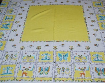 Vintage Tablecloth Kitschy Deer with Yellow