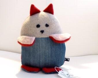 Ooak Cashmere Stuffed Kitty Cat Felted Sweater Friend