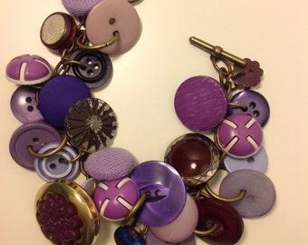A Purple Vintage Button Charm Bracelet