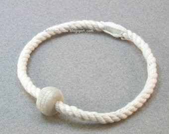 slender rope bracelets with bead white cotton grommet friendship bracelets rope jewelry 3104