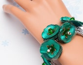 Flirty Flower Bracelet / Cuff - Perfect Bridesmaids Gift - in Silver & Emerald Green  - Comes Gift Wrapped - Handmade Jewelry by VividColors