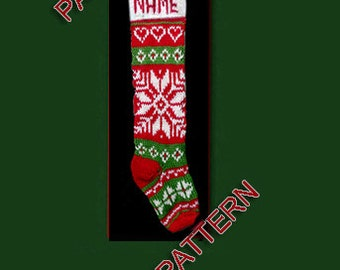 Hand knit Christmas stocking,  pattern only, 5 types of snowflake and heart