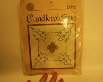 Candlewicking kit for 12 by 12 acorn and leaves pillow .