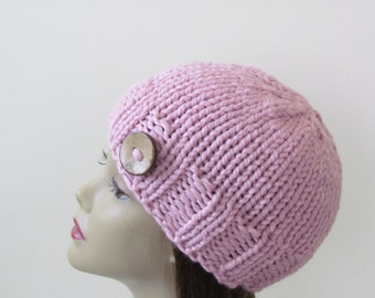 Chunky Knit Hat Winter Hat Chunky Knit Beanie Womens Hat Teens Hat - Blossom Pink with  Button Accent  - Ready to Ship - Direct Checkout