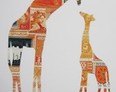 GIRAFFE And BABY Original Collage Art Print Made From Postage Stamps