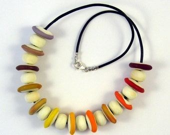 Warm Tones Disk  Lampwork Glass Bead Necklace SRA