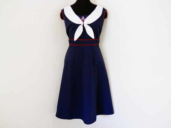 Stop Staring Dress Vintage 40s Style Sailor Girl Nautical XL