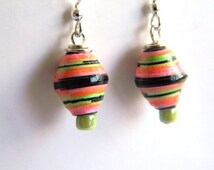 Paper Bead Jewelry - Kids NEON Earrings - #208