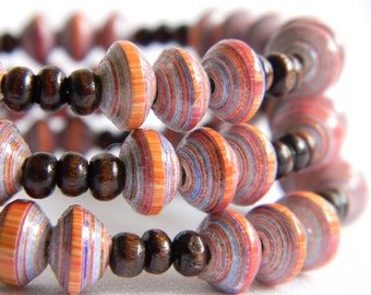 Paper Bead Jewelry - Memory Wire Bracelet - #1432