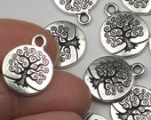 Silver Tree of Life Charms 2 Or More TierraCast 15mm Antique Silver Plate Pewter Pendant Tierra 15 mm Silver Tree Pewter Bodhi Trees of Life