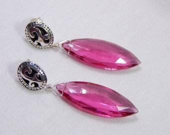 Vibrant Pink Quartz and Bali Silver Earrings