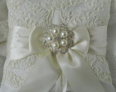 Wedding Ring Bearer Pillow Bridal Ring Pillow Ivory Satin And Alecon Lace Ringbearer Pillow