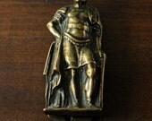 Vintage Brass Roman Warrior Door Knocker Hand Forged