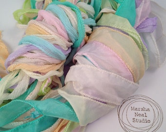 Silk Ribbons Pastels Color Palette of 10 Silky or 10 Fairy Ribbons Craft Supplies Mint Baby Blue Pink Pale Yellow White Ivory Lilac Orange