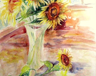 ORIGINAL Sunflowers Painting Watercolor Flower Painting Still Life 14X20