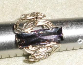 Amethyst Rhinestone In Silver Tone Wire Wrapped Ring