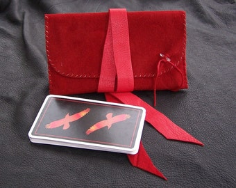 Deer Leather Tarot Bag....RED...Suede