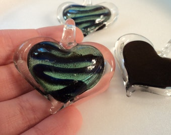 SALE - Glass Heart Pendant - Blue & Green - #PND911