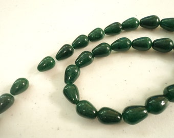 CLEARANCE - Green - Dyed Jade Teardrop Beads