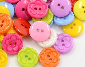 Round Flower Buttons - Set of 50 - Mixed colors - #BUTTON122