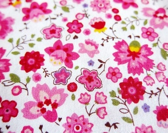 Floral Cotton Fabric - Tiny Cherry Blossoms Fabric - Half Yard