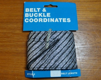 "Vintage Ribbon Belt Kit- Black & Silver Metallic Stripes-54"" Length 2 3/4"" Wide- NOS"