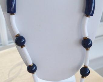 "Pretty Vintage Long Navy Blue, White Plastic Necklace, 36"""