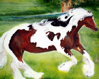 Art Horse  Pastoral Painting Farm Plow Gypsy Vanner Old Mill Wall