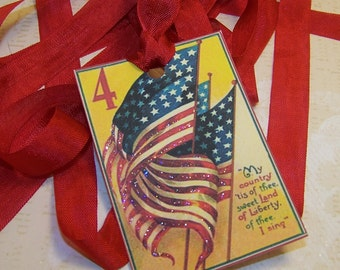 July 4th Tags 4th of JulyTags Memorial Day Tags American Flag Tags Junk Journal Supplies Journaling Cards Set of 6 or 9