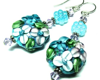 Turquoise Floral Earrings Lampwork Earrings Turquoise Earrings Flower Earrings Artisan Earrings Beaded Earrings Handmade Earrings