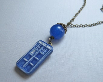 Tiny Doctor's Police Box Necklace in Brass (N-200)