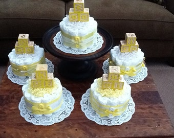 Yellow and white Diaper Cake baby shower centerpieces gender neutral other colors and sizes too