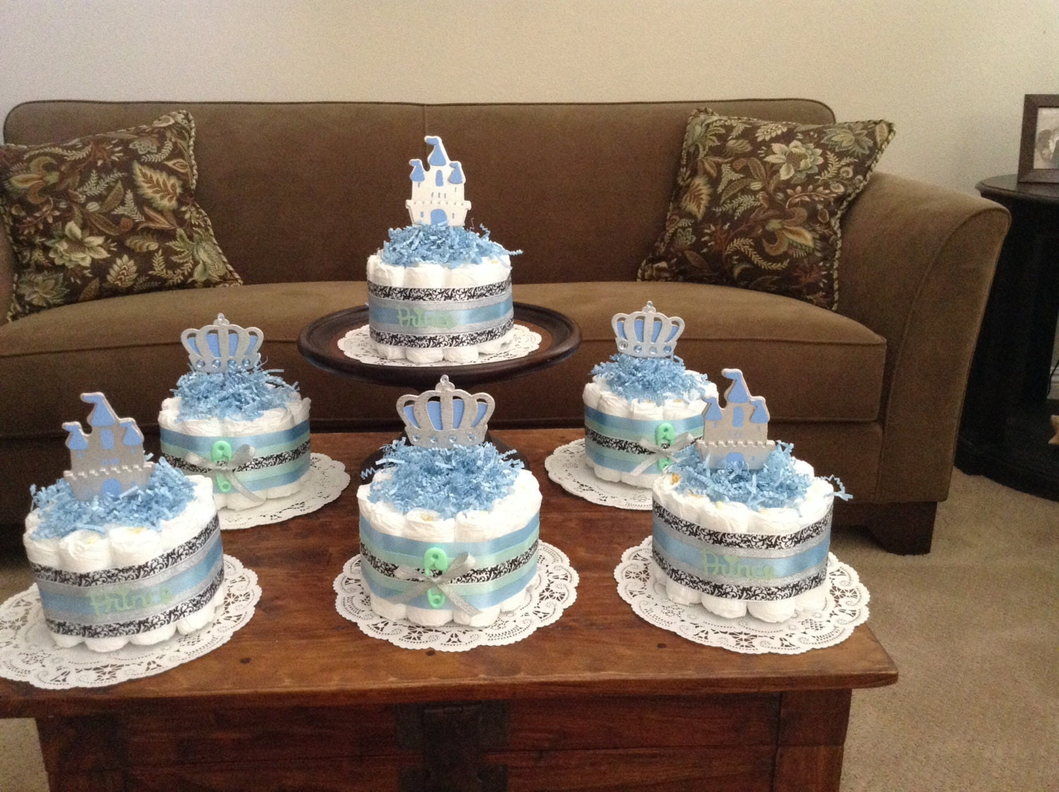 Cake Centerpieces For Baby Shower : Little Prince Baby Shower Diaper Cakes Centerpieces other