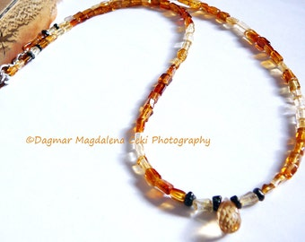 Hozhoni - In Beauty Walk - Necklace / Citrine and Black Tourmaline