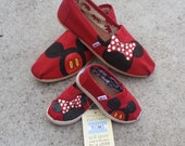 Mother and Toddler matching Toms - Two Pairs of Toms with Disney Art