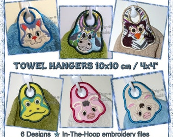 """ITH Project 6 x Towel Topper Designs Embroidery File 10x10cm / 4x4"""" Hanger"""